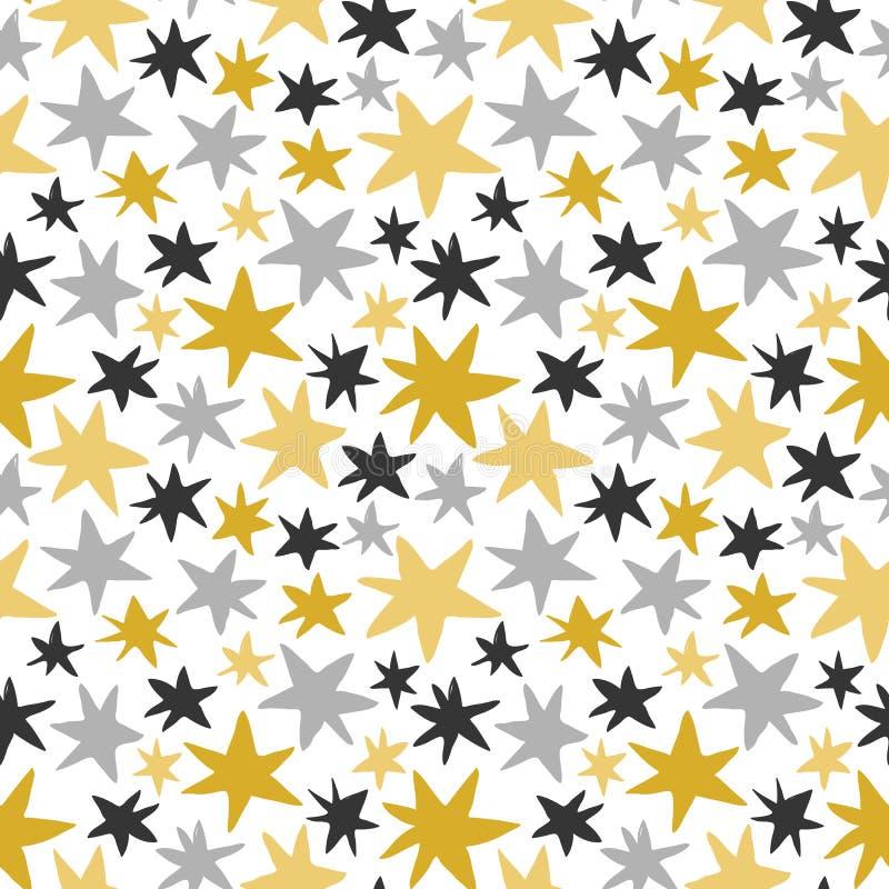 Teste padrão sem emenda do vetor com ouro e as estrelas cinzentas no fundo branco para o projeto gráfico ilustração stock