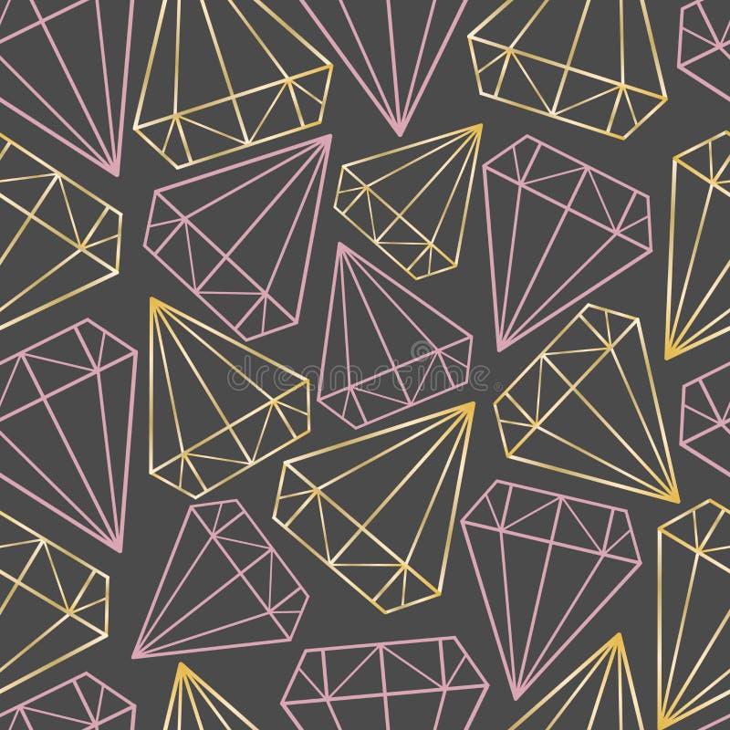 Teste padrão sem emenda do vetor com ouro e contornos cor-de-rosa dos diamantes, gemas, cristais Cópia geométrica, textura, fundo ilustração stock