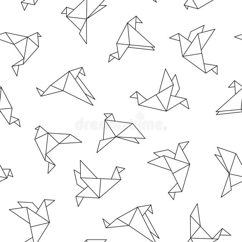 Teste padrão sem emenda do vetor com pássaros do origâmi Fundo creativo abstrato ilustração royalty free