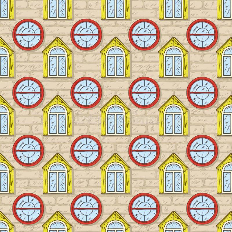 Teste padrão sem emenda do vetor com parede de tijolo e cor Windows ilustração stock