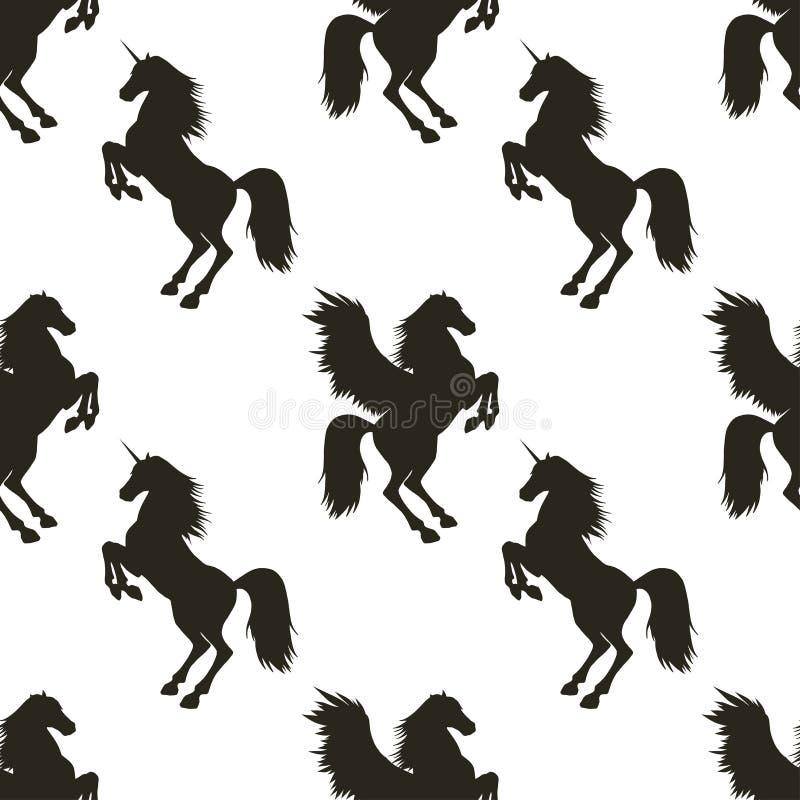 Teste padrão sem emenda do vetor com Pegasus e unicórnio imagens de stock royalty free