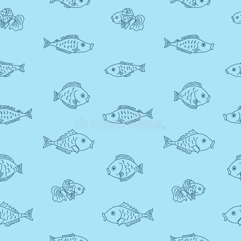 Teste padrão sem emenda do vetor com peixes ilustração royalty free