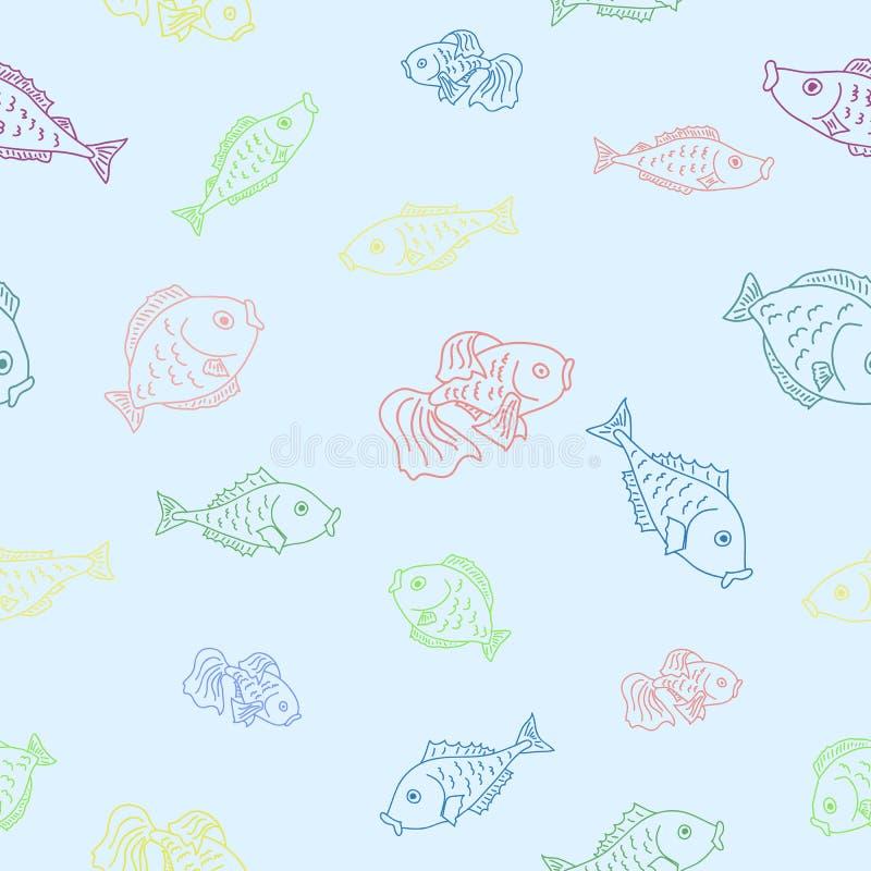 Teste padrão sem emenda do vetor com peixes ilustração do vetor