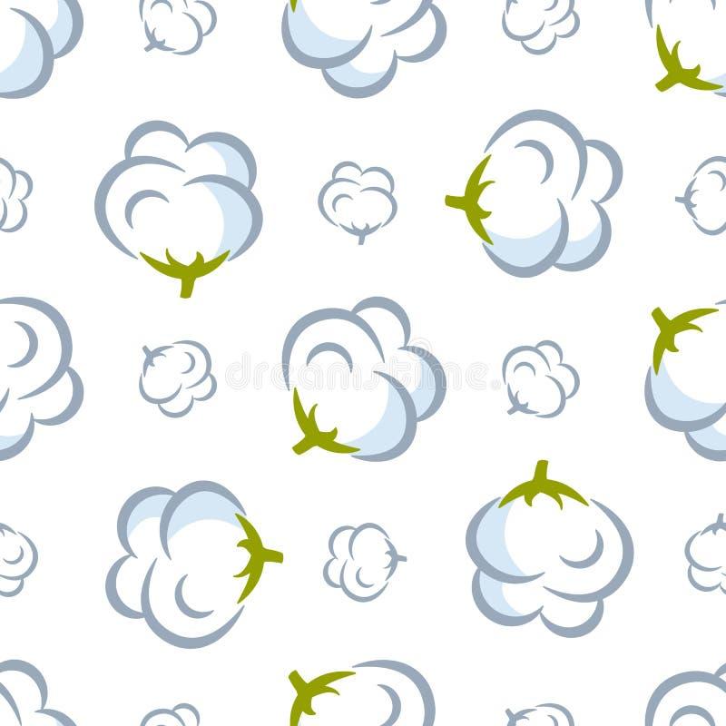 Teste padrão sem emenda do vetor com a planta de algodão no fundo branco ilustração do vetor