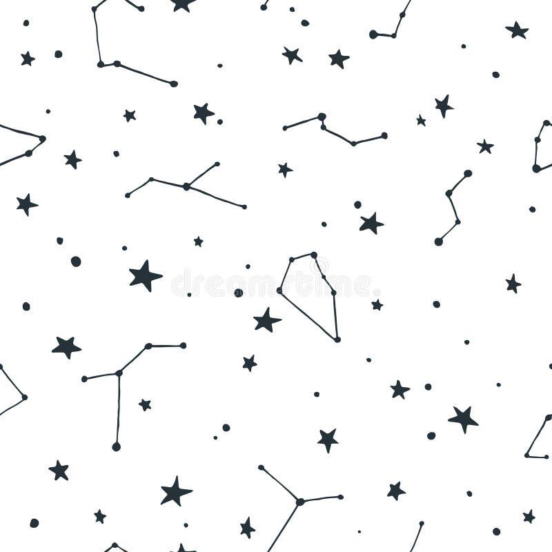 Teste padrão sem emenda do vetor com pontos das estrelas e das constelações ilustração royalty free