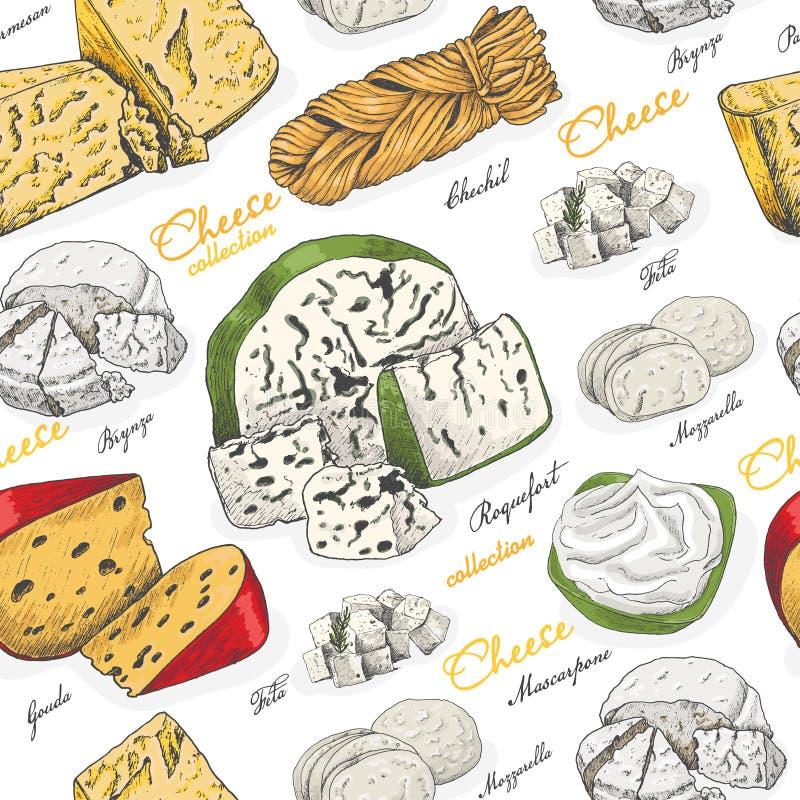 Teste padrão sem emenda do vetor com queijos diferentes da cor no estilo do esboço ilustração stock
