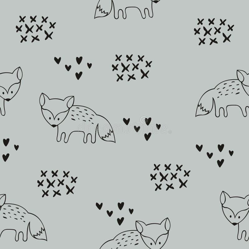Teste padrão sem emenda do vetor com raposas Fundo decorativo para o projeto de uma sala e da roupa do ` s das crianças ilustração stock