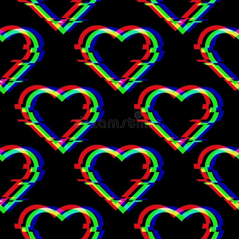 Teste padrão sem emenda do vetor com símbolo do coração no estilo do pulso aleatório Ícone do amor isolado no fundo preto Digital ilustração stock
