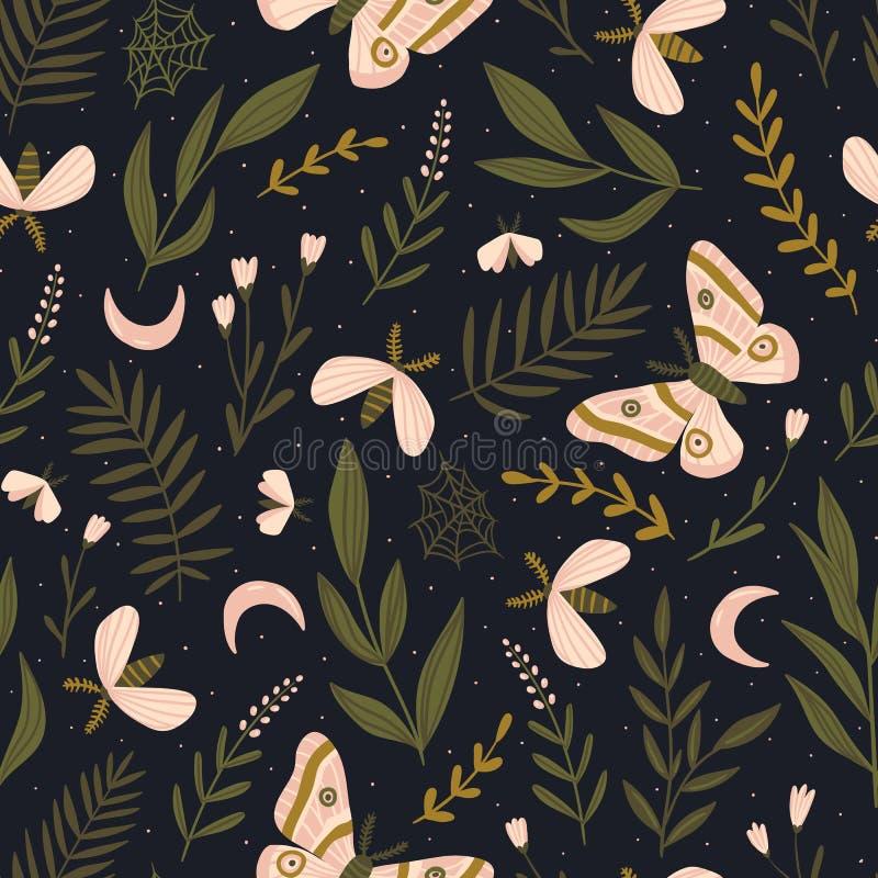 Teste padrão sem emenda do vetor com traças e borboleta da noite Cópia romântica bonita Projeto botânico escuro ilustração stock