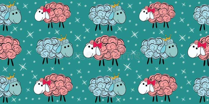 Teste padrão sem emenda do vetor com um carneiro Ilustração de um carneiro dos desenhos animados Cópias para matérias têxteis imagem de stock royalty free