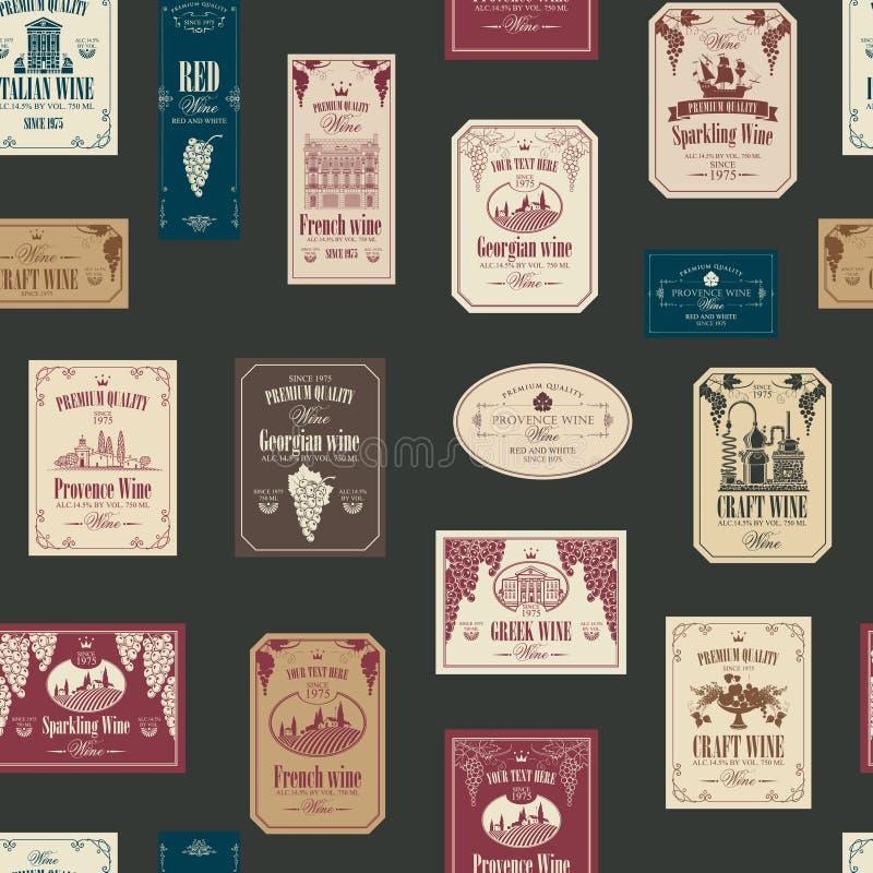 Teste padrão sem emenda do vetor com várias etiquetas do vinho ilustração do vetor