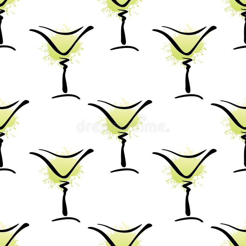 Teste padrão sem emenda do vetor com vidro tirado da mão do cocktail de Margarita no branco ilustração do vetor