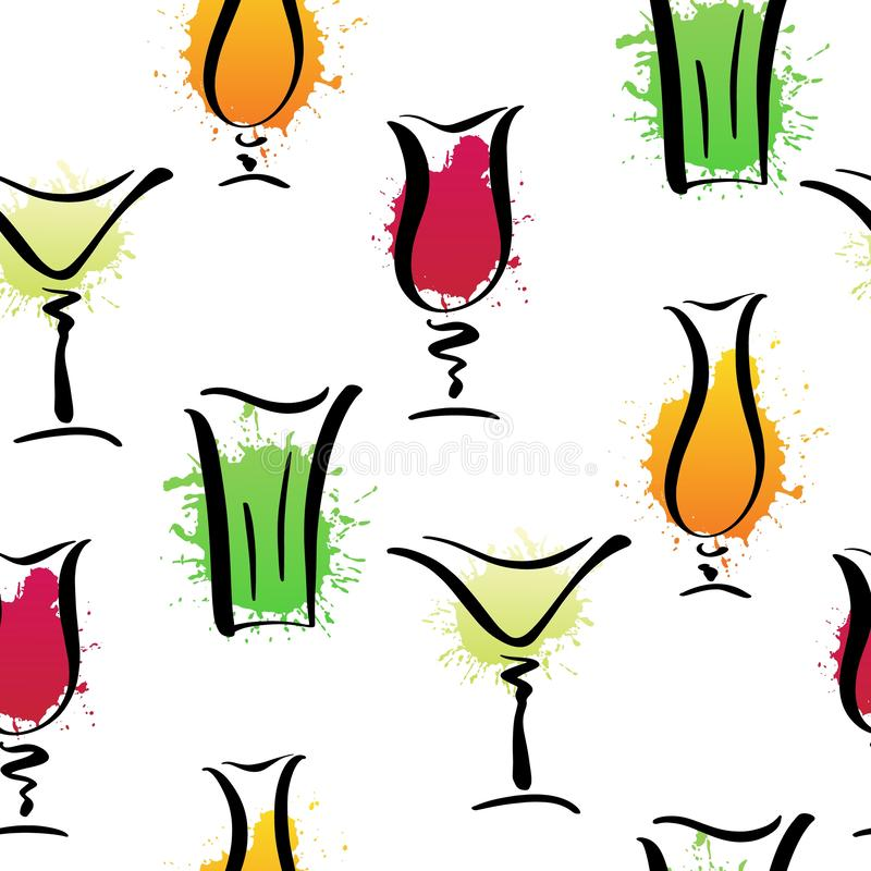 Teste padrão sem emenda do vetor com vidros tirados da mão de cocktail clássicos ilustração do vetor