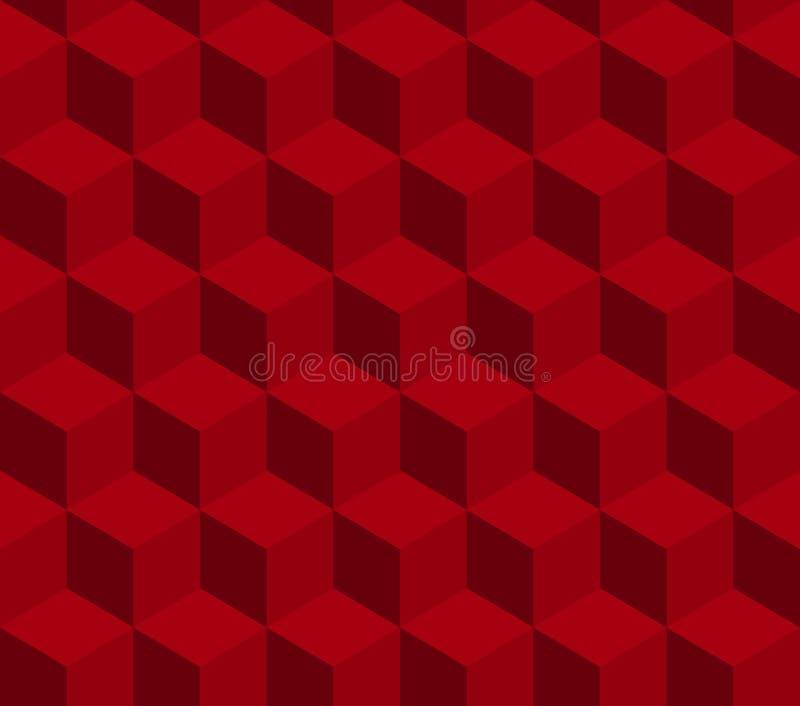 Teste padrão sem emenda do vetor do cubo vermelho Teste padrão incluído na amostra de folha ilustração do vetor
