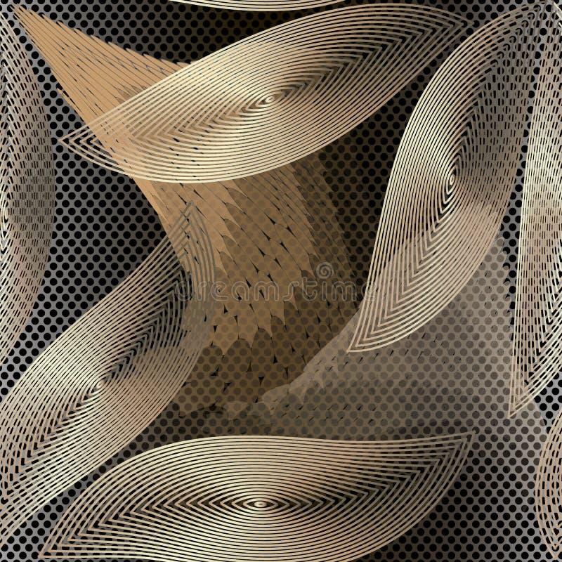 Teste padrão sem emenda do vetor 3d abstrato decorativo moderno Fundo de intervalo mínimo geométrico Ornamento frondoso floral co ilustração do vetor