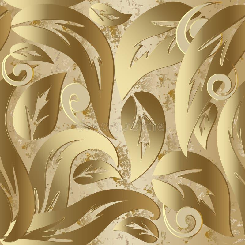 Teste padrão sem emenda do vetor 3d barroco do vintage do ouro ilustração stock