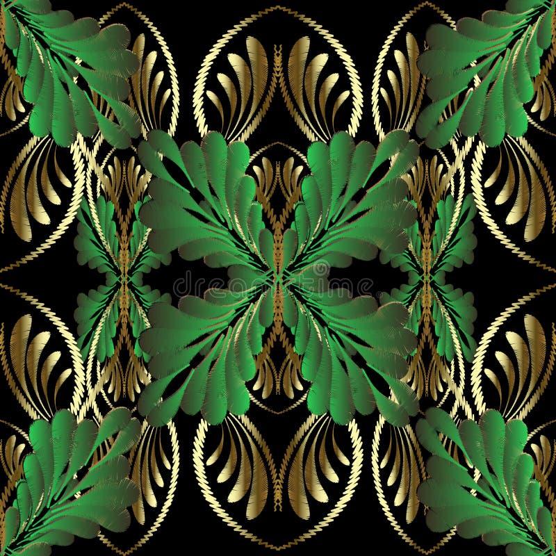 Teste padrão sem emenda do vetor 3d floral do ouro do bordado Ornamento luxuoso da tapeçaria decorativa Flores douradas bordadas, ilustração stock