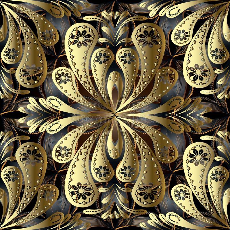 Teste padrão sem emenda do vetor 3d floral do vintage do ouro Ornamen abstratos ilustração stock