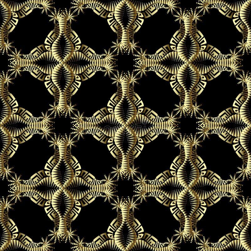 Teste padrão sem emenda do vetor 3d grego textured floral do ouro Fundo decorativo do estilo étnico Flores de intervalo mínimo do ilustração stock