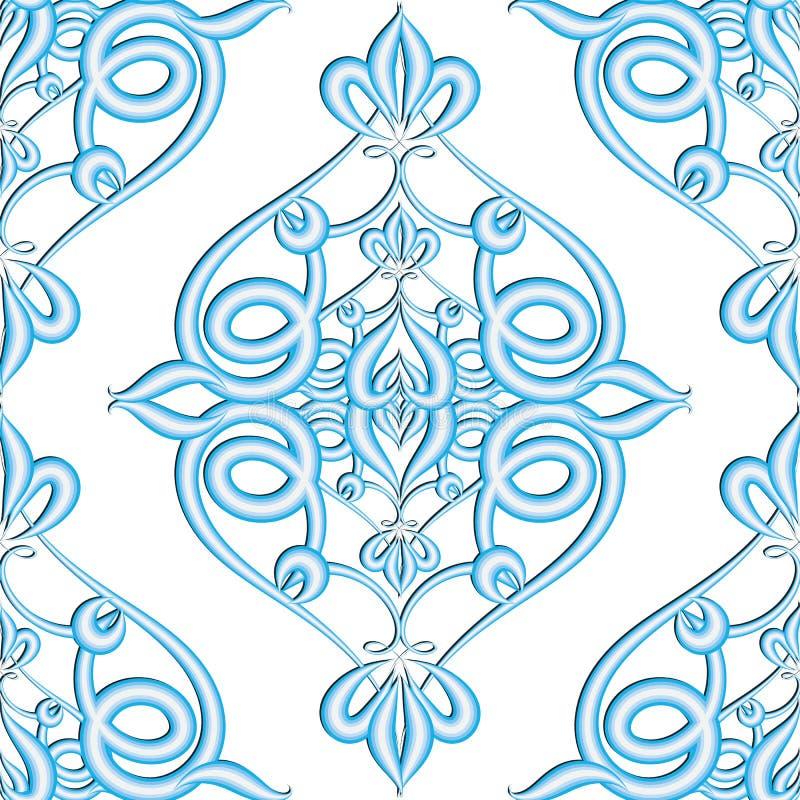 Teste padrão sem emenda do vetor 3d textured floral do damasco Ornamento de superfície azul do Arabesque no fundo branco Estilo á ilustração stock