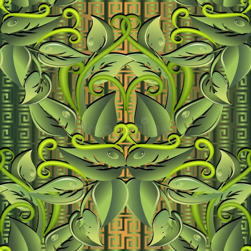 Teste padrão sem emenda do vetor 3d verde frondoso Fundo grego geométrico decorativo Repita o contexto modelado das beiras Mão do ilustração do vetor