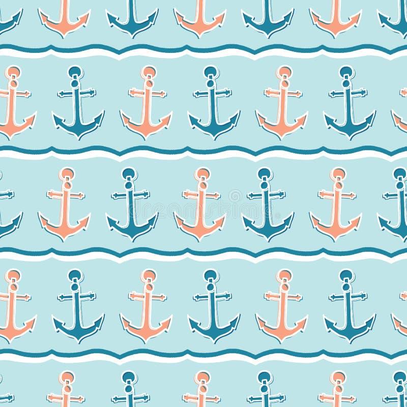 Teste padrão sem emenda do vetor da âncora marinha bonito da listra Telha tirada m?o da naviga??o do oceano Por todo o lado na có ilustração do vetor