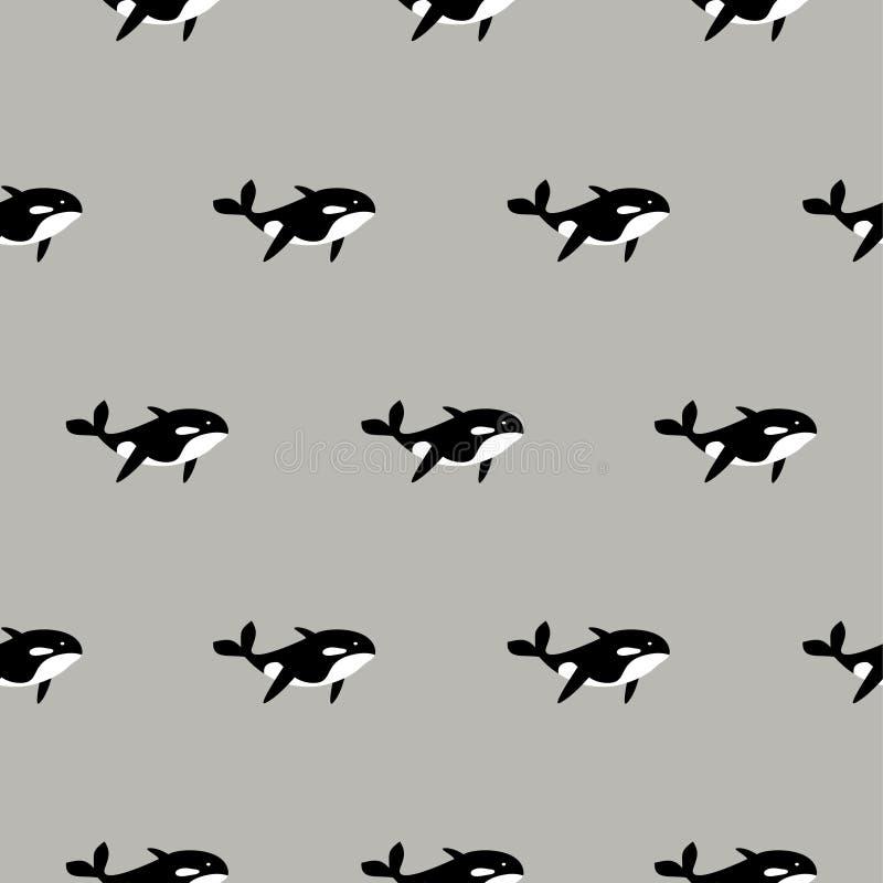 Teste padrão sem emenda do vetor da baleia da orca Fundo preto e branco dos peixes do estilo dos desenhos animados ilustração do vetor