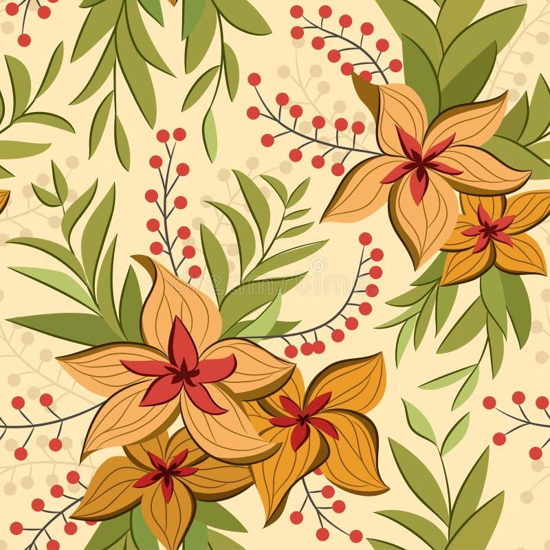 Teste padrão sem emenda do vetor da flor do lírio do vintage decorativo do sumário ilustração stock