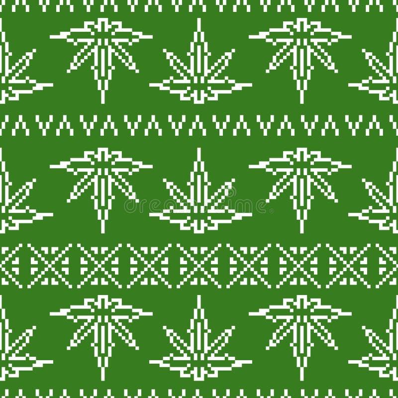 Teste padrão sem emenda do vetor da folha da erva daninha da camiseta do estilo do jogo da arte do pixel ilustração stock