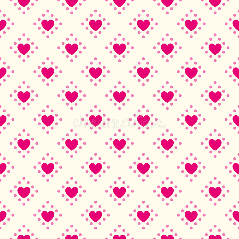 Teste padrão sem emenda do vetor da forma do coração Rosa e ilustração stock