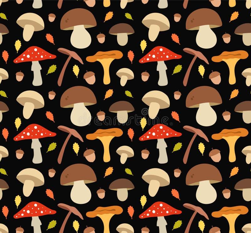 Teste padrão sem emenda do vetor da ilustração lisa do cogumelo ilustração do vetor