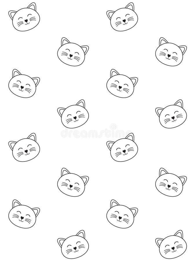 Teste padrão sem emenda do vetor da linha preta cara do gato ilustração do vetor