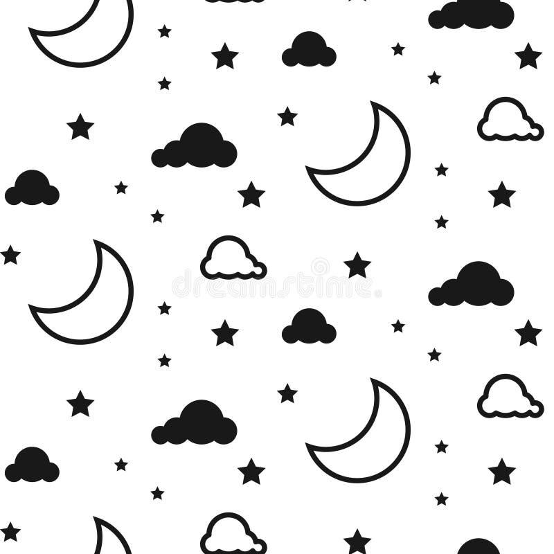 Teste padrão sem emenda do vetor da lua e das nuvens ilustração royalty free