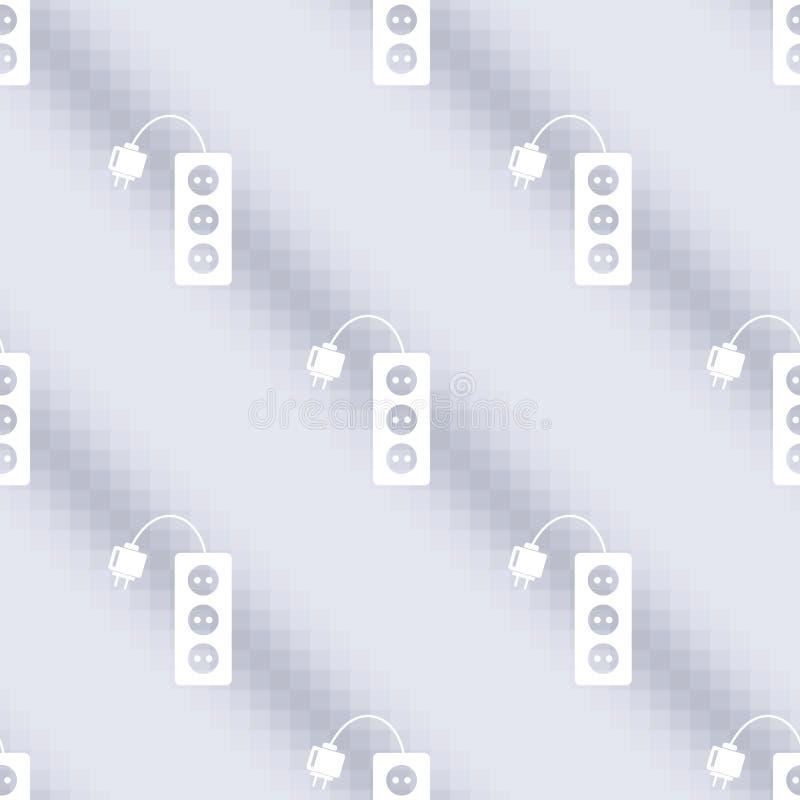 Teste padrão sem emenda do vetor da música, fundo simétrico com ícones da tira do poder, sobre o contexto azul ilustração do vetor
