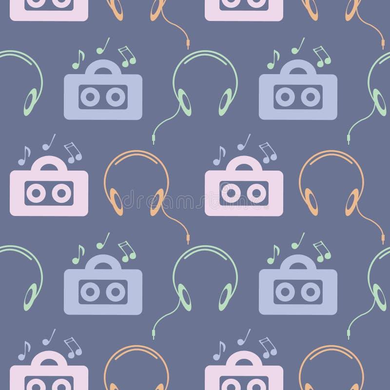 Teste padrão sem emenda do vetor da música, fundo simétrico com o jogador de música colorido, fones de ouvido e notas, sobre o co ilustração royalty free