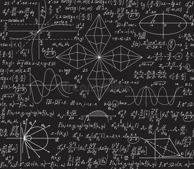 Teste padrão sem emenda do vetor da matemática com as fórmulas da álgebra e da geometria escritas à mão em um quadro cinzento ilustração royalty free