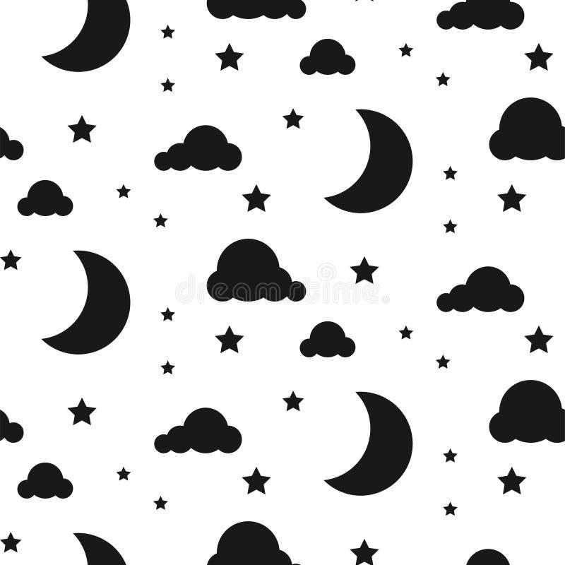 Teste padrão sem emenda do vetor da noite da luz das estrelas ilustração do vetor