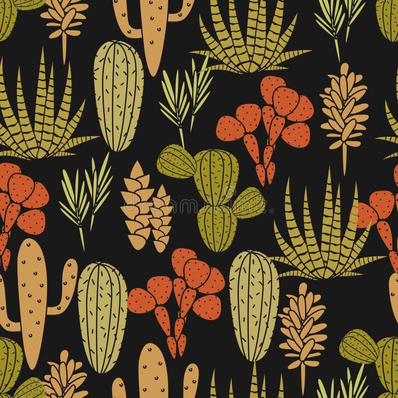 Teste padrão sem emenda do vetor da planta das plantas carnudas Cópia preta e verde botânica da tela da flora do cacto ilustração do vetor