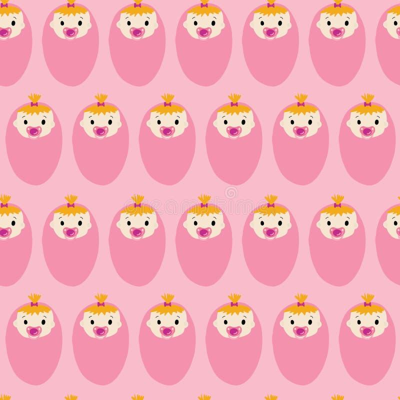 Teste padrão sem emenda do vetor da repetição da menina da festa do bebê ilustração do vetor