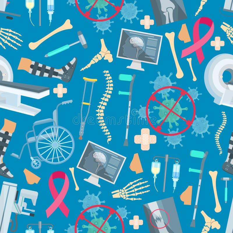 Teste padrão sem emenda do vetor da saúde da cirurgia da medicina ilustração stock