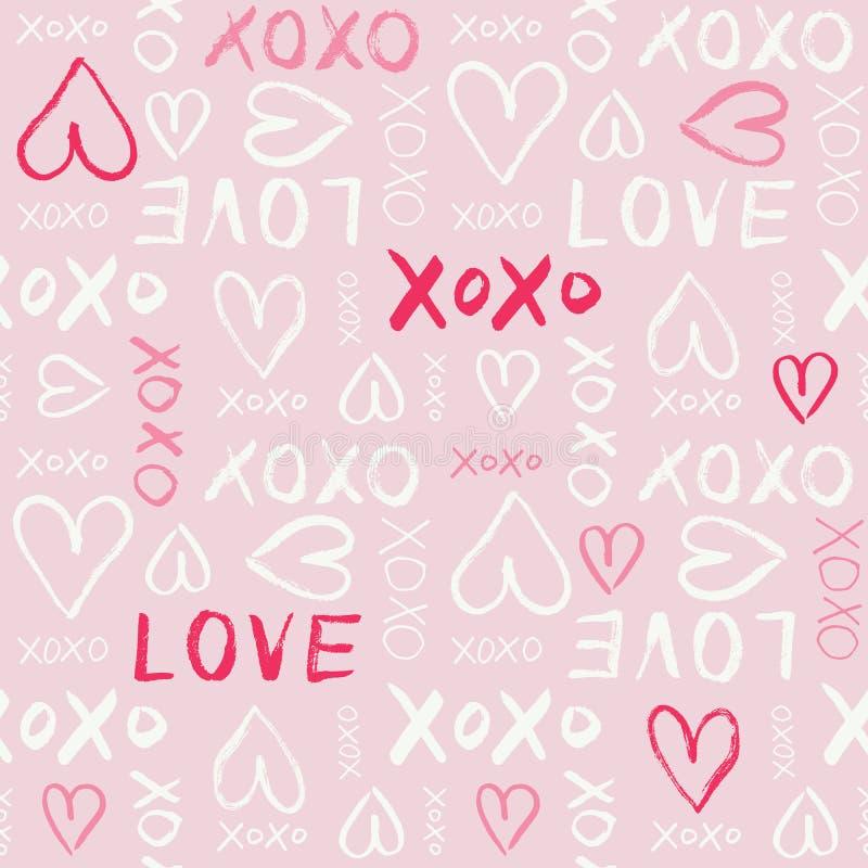 Teste padrão sem emenda do vetor da tipografia do dia de Valentim escrito mão Amor tirado mão dos corações e das palavras da gara ilustração stock