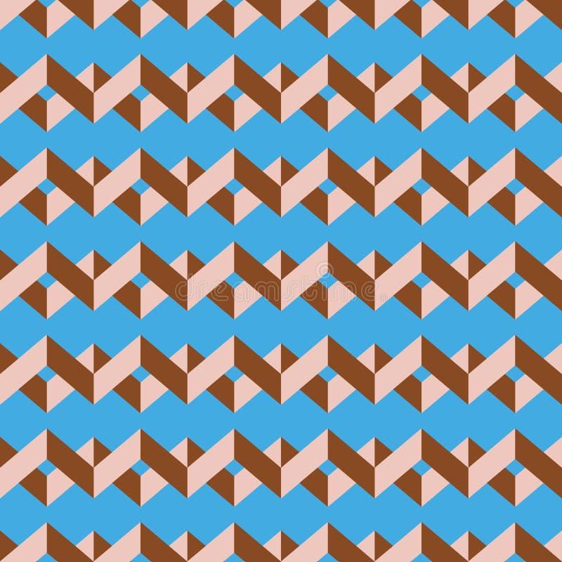 Teste padrão sem emenda do vetor da viga Colorido empalideça - o ziguezague cor-de-rosa no fundo dos azul-céu imagens de stock royalty free