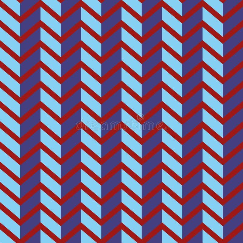 Teste padrão sem emenda do vetor da viga Ziguezague roxo colorido no fundo vermelho brilhante imagens de stock royalty free