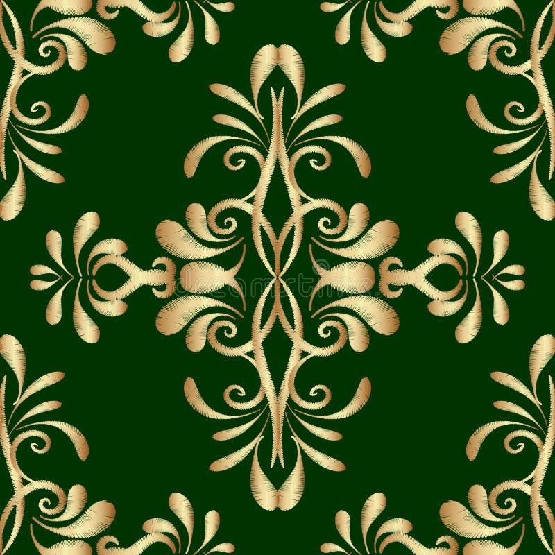 Teste padrão sem emenda do vetor do damasco do verde do ouro do bordado Tapeçaria o ilustração do vetor