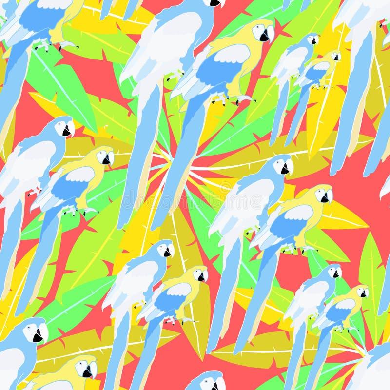 Teste padrão sem emenda do vetor das caraíbas do ouro da palma e do papagaio de Havaí ilustração stock