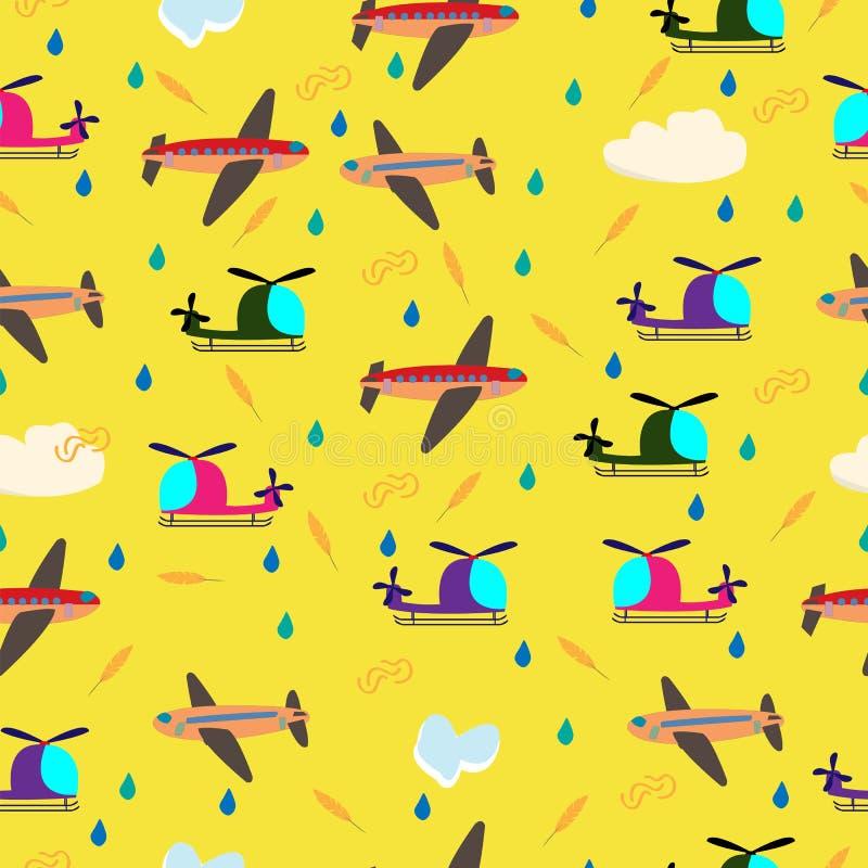 Teste padrão sem emenda do vetor das crianças com aviões e helicópteros ilustração stock