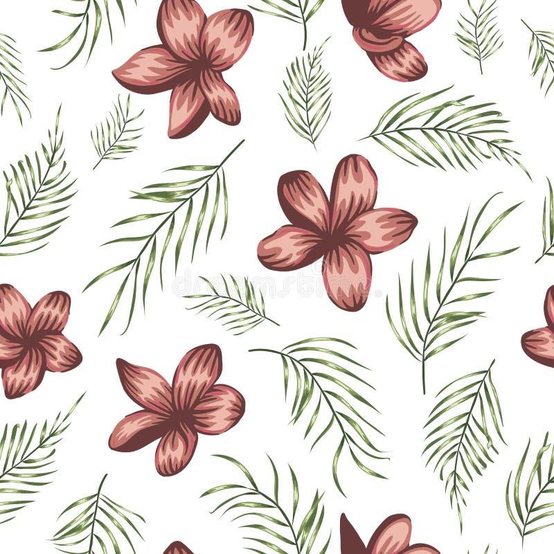 Teste padrão sem emenda do vetor das folhas verdes da palmeira com as flores vermelhas no fundo branco ilustração royalty free