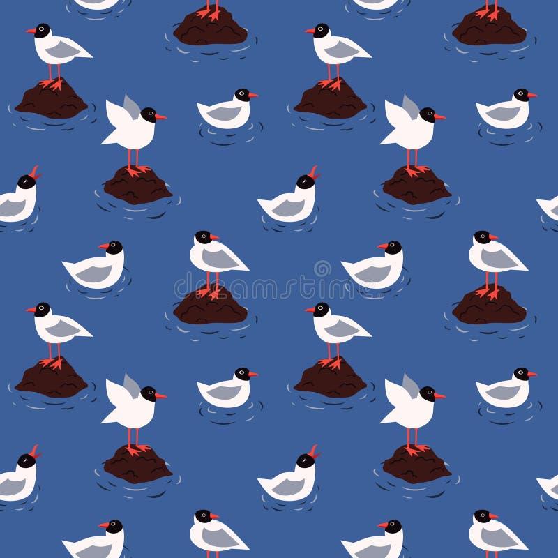 Teste padrão sem emenda do vetor das gaivotas do mar e da pústula ilustração stock