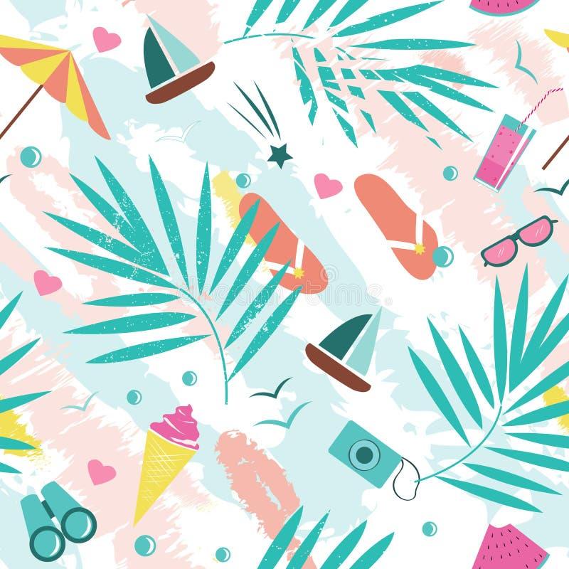 Teste padrão sem emenda do vetor das horas de verão com os elementos coloridos da praia isolados no fundo branco Cópia do fundo d ilustração stock