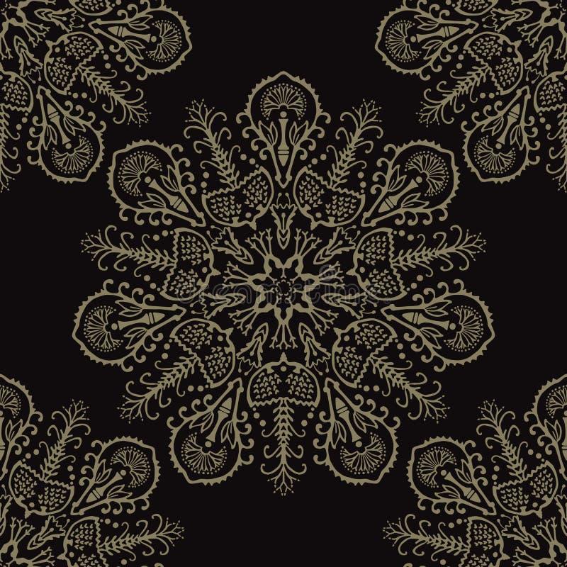 Teste padrão sem emenda do vetor das mandalas florais do Arabesque de Boho ilustração do vetor